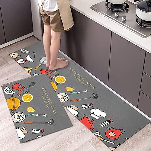 Alfombrillas de Cocina Alfombrillas de Entrada Antideslizantes de Dibujos Animados Alfombras Decorativas con patrón de Cubiertos Alfombras absorbentes NO.3 40X60cm y 40X120cm