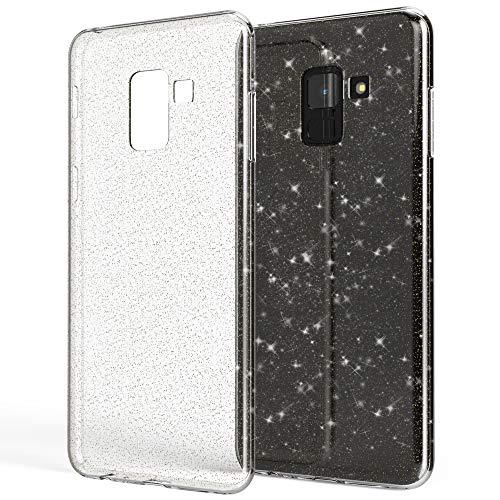 NALIA Glitter Hülle kompatibel mit Samsung Galaxy A8 2018, Glitzer Handyhülle Ultra-Slim Silikon Hülle Cover Schutz, Bling Sparkle Handy-Tasche Bumper Skin, Dünnes Strass Phone Etui, Farbe:Transparent