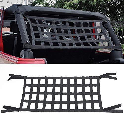 Pandaorv Rear Top Cargo Net for Jeep Wrangler, Car Roof Hammock Car Bed Rest for J-eep Wrangler Accessories JK 2007-2018
