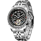 Gute Men's Automatic Watch, Luxury Silver Tone...