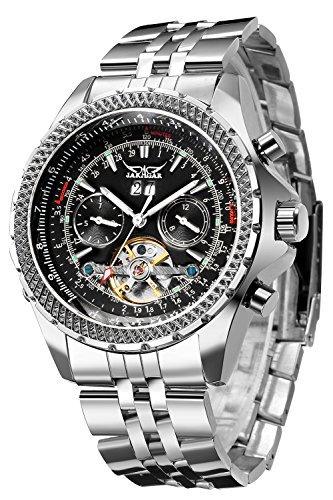 Gute Men's Automatic Watch, Luxury Silver Tone Stainless Steel Big Face Mens Multi Functional Mechanical Wristwatch
