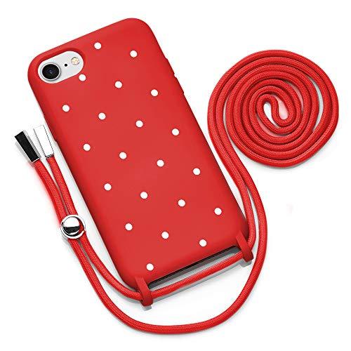 Handykette kompatibel mit iPhone SE 2020 7/8 Hülle mit Band Handyhülle mit Kette zum Umhängen Silikon Necklace Kordel Bumper Hülle Rot mit Motiv Punkte