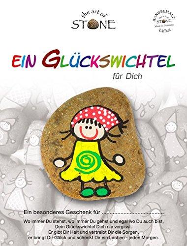 The Art of Stone Glückswichtel Stein GelbGrünRotWeiß mit Spirale, individualisierbarer Glücksstein, von Hand bemalt