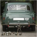 Aufkleber Folie Just Married für Hochzeitsauto Autoaufkleber Heck Wandaufkleber Wandtattoo Hochzeit Trauung Heiraten Sticker Selbstklebend Dekoration (Weiß, KX055 Just Married 1)