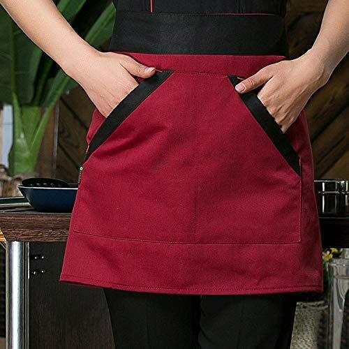 ZXL Keukenschort, middenang, voor mannen en vrouwen, half deel, korte buik, restaurant, café, broek, schort (kleur: zwart)