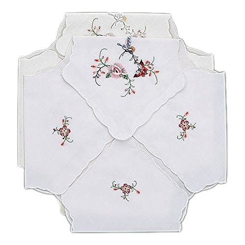 Bread Basket Liners Bun Warmers White Perma-Press Cloth with Butterfly Embroidery 18 x 18 Inch (Set of 2)