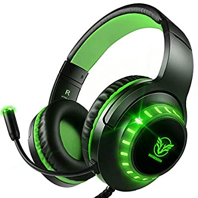 Pacrate Gaming Headset with Microphone for Laptop Xbox One Headset Computer PC Noise Cancelling Gaming Headphones with Microphone Stereo PS4 Headset for Kids Adults LED Lights Deep Bass