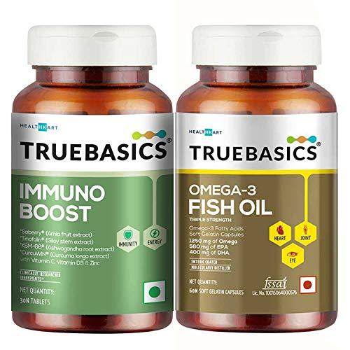 TrueBasics Fish Oil + Immuno Boost, 60 Capsule(s)/Pack,Unflavoured