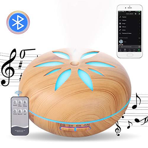 Diffusoren für ätherische Öle Luftbefeuchter Ultraschall Musik 550ML, Musik-Player, Bluetooth Lautsprecher Aroma Diffuser, Fernbedienung 7 Farbige Nachtlicht Wasserlose Power-off für Aromatherapie