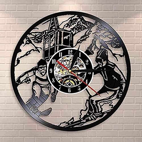 SHILLPS Snowboard Reloj de Pared Invierno Gimnasio decoración Patinaje Disco de Vinilo Reloj de Pared Reloj de esquí Colgante de Pared Arte Amantes del esquí Regalo con LED
