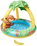 Jilong Monkey Baby Pool - Piscina Infantil con Suelo Hinchable y Parasol, para niños de Entre 1 y 3 años, Ø 102 x 80 cm