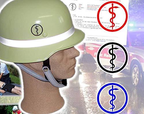 2x Feuerwehr Helmaufkleber Aufkleber Helmkennzeichnung Äskulapstab LFV BAYERN (Schwarz)