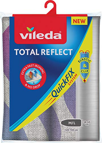 Vileda Total Reflect Ironing Board Cover, Fabric, Grey, 120–130 x 38-45 cm