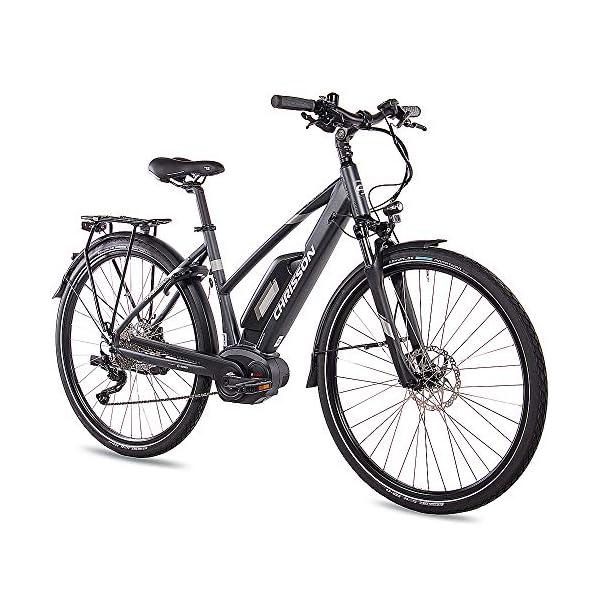 51GJS3S63uL. SS600  - CHRISSON 28 Zoll Damen Trekking- und City-E-Bike - E-Actourus anthrazit matt - Elektro Fahrrad Damen - 10 Gang Shimano Deore Schaltung - Pedelec mit Bosch Mittelmotor Performance Line 250W, 63Nm