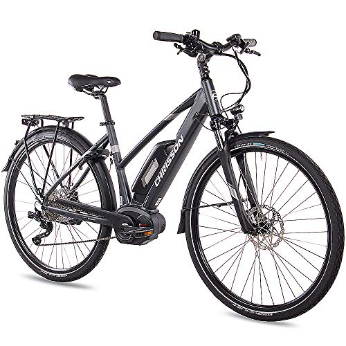 CHRISSON 28 Zoll Damen Trekking- und City-E-Bike - E-Actourus anthrazit matt - Elektro Fahrrad Damen - 10 Gang Shimano Deore Schaltung - Pedelec mit Bosch Mittelmotor Performance Line 250W, 63Nm