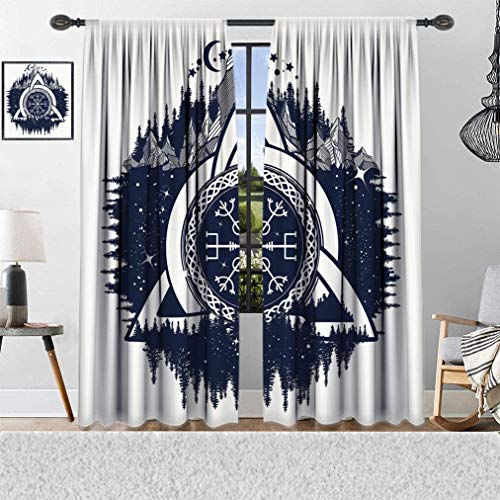 Home Decor Window Curtains, Celtic Knot with Tridents Forest and Mountains Scandinavian Scenery, Thermal Insulated Curtains with Print Pattern, Window Curtains for Bedroom Living Room, 2 Panels