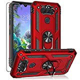 YZOK for LG Aristo 5 Case,with HD Screen Protector,LG Phoenix 5,LG Fortune 3,Risio 4 Case,[Military Grade] Ring Car Mount Kickstand Hybrid Hard PC Soft TPU Shockproof Protective Case for LG K8x (Red)