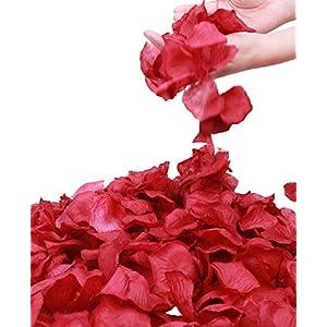 Jasmine 1000 Pieces Dark Red Non-Woven Rose Petals Artificial Flower Petals for Wedding Confetti Valentine Day Flower Deor,Dark Red