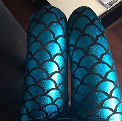 Sassy Mermaid Leggings (L, Turquoise)