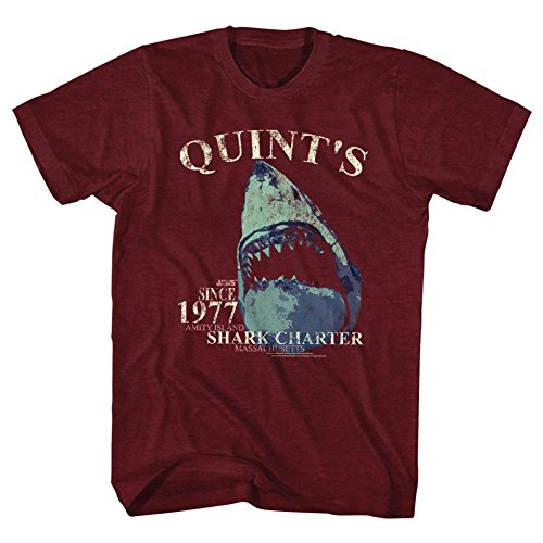 Official Jaws Mens Quints Shark Charter 1977 T-Shirt, Cranberry Heather - S to XXL