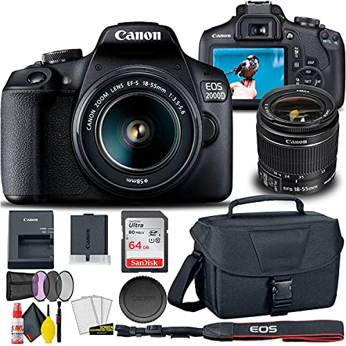 Canon EOS 2000D / Rebel T7 DSLR Camera with 18-55mm Lens + Creative Filter Set, EOS Camera Bag + Sandisk Ultra 64GB Card + Electronics Cleaning Set, and More (International Model) (Renewed)