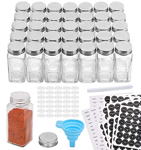 Aozita 36 Pcs Glass Spice Jars with 810 Spice Labels - 4oz Empty Square Spice Bottles - Shaker Lids and Airtight Metal Caps - Chalk Marker and Silicone Collapsible Funnel Included