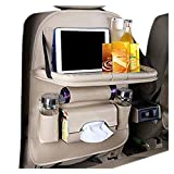 HUIJUNWENTI Coche Backseat Organizer Tabla Plegable Tabla Plegable PU Cuero de Cuero Pat For Bottle Tissue Cable Kid Juguetes (Color : Beige)