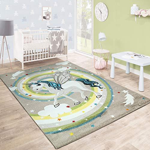 Paco Home Kinderteppich Kinderzimmer Fliegendes Einhorn Regenbogen Sterne Mädchen In Beige, Grösse:120x170 cm