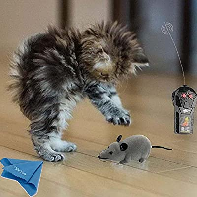 Two-way Wireless Electronic Remote Control Mouse Toy RC Tricky Rotation Rat Mice Animal Hot Flocking Emulation Toys Kids Toy for Children Cat Dog Pet Animals