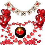 ASANMU Romantische Kerzen Set, 1000 Rosenblätter Rosen, 50 Herzförmige Teelichter, 1 Banner, 10 Rote Herzförmige Folienballons Hochzeitssaison Kit für Muttertag, Hochzeit, Hochzeitstag, Verlobung