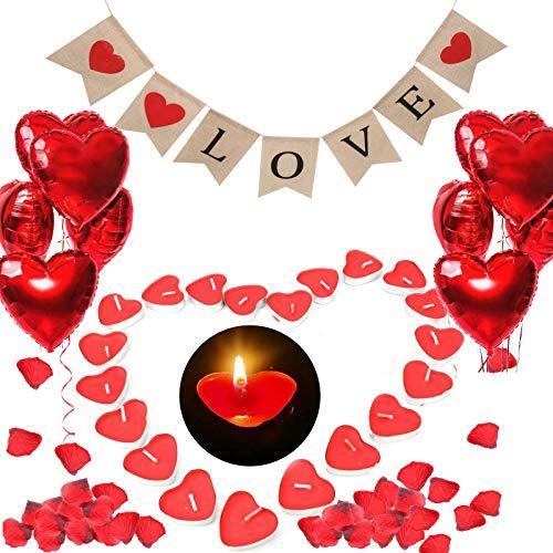 ASANMU Romantische Kerzen Set, 1000 Rosenblätter Rosen, 50 Herzförmige Teelichter, 1 Banner, 10 Rote Herzförmige Folienballons Valentinstag Deko Kit für Geburtstag, Hochzeit, Hochzeitstag, Verlobung
