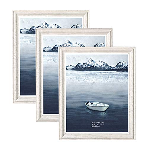 Metrekey 3er Set Bilderrahmen 20x25 cm Vintage Weiß Holz aus MDF mit Glas Zertifikat Portraitrahmen Wechselrahmen Fotorahmen mit Ständer für Zuhause und Wanddekoration