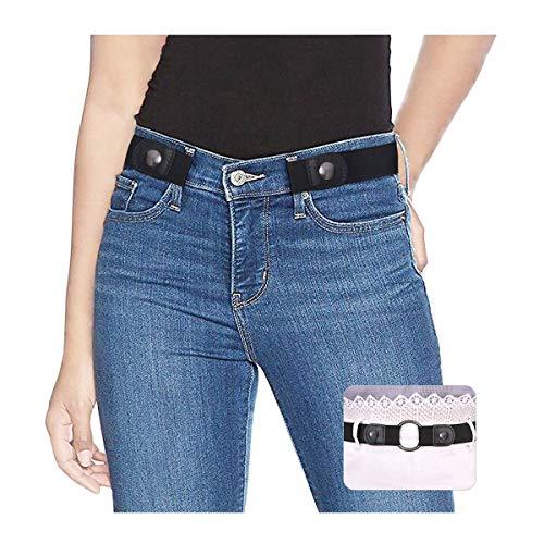 SUOSDEY Gürtel Damen Schwarz,Elastischer Gürtel für Jeans Hosen Stretchgürtel Gürtel für Damen Herren ohne Schnalle gürtel,schwarz,84-120