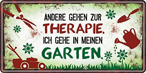 AV Andrea Verlag Großes Metallschild rostfrei Blechschild Schild mit lustigem Spruch im Vintage Retro Look (Therapie)