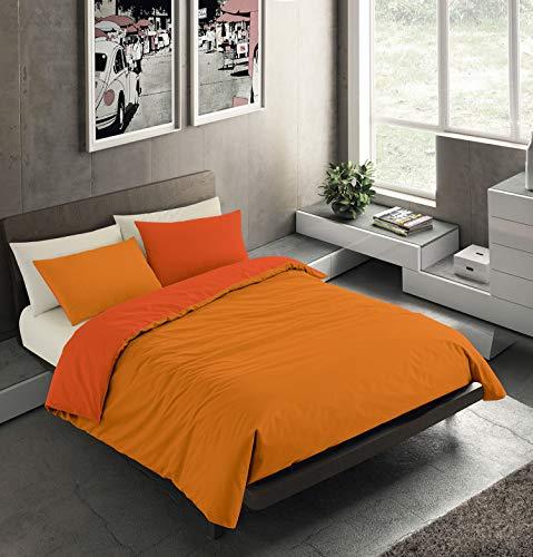 Banzaii Set Copripiumino Bicolor 100% Microfibra con Federe Double Face Matrimoniale 250x200 cm Arancio Chiaro/Arancio Scuro