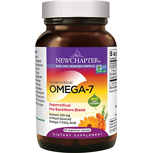 New Chapter Supercritical Omega 7 with Sea Buckthorn + Plant Sourced Fatty Acids + Omega 7 + Non-GMO Ingredients - 60 Vegetarian Capsule