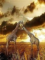 動物のキリン﹣Diy油絵キット﹣大人のためのDiyデジタルキャンバス絵画ギフト﹣キッズペイントナンバーキット﹣40X50Cm﹣フレームレス