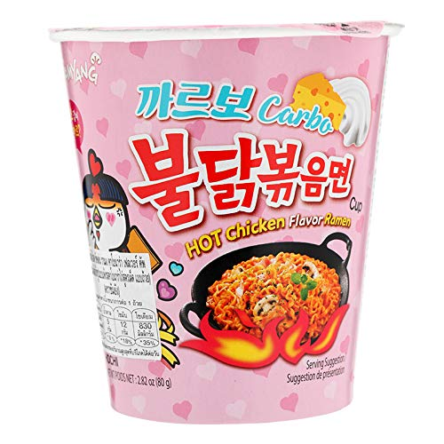 Samyang, Instant Hot Chicken Flavour Ramen in Cup, Carbo, 80 g. [Pack of 2 pieces]