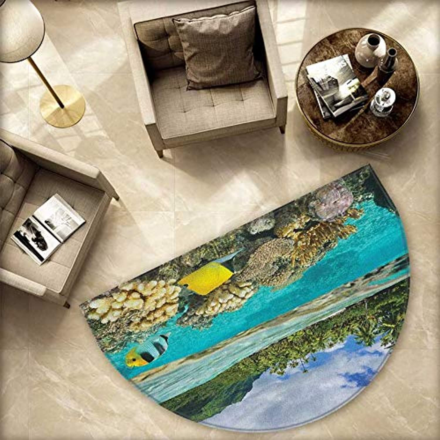 Island Semicircle Doormat Pacific Ocean French Polynesia Lagoon of Huahine Lush Shore with Corals and Fish Halfmoon doormats H 78.7  xD 118.1  Multicolor