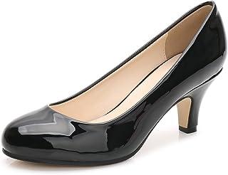 [OCHENTA] レディース メンズ シンプル 歩きやすい 大きいサイズ 美脚 通勤 通学 ピンヒール ハイヒール ジュース ラウンド パンプス 6cmヒール