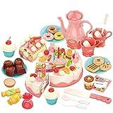 Cestbon Torta eléctrica de Juguete Cocina para niños, DIY 82 PCS rodajas de Juguete Pastel de cumpleaños con Las Placas de la Fruta de Postre, Regalo para niños y niñas,Rosado