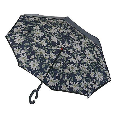 Moderne Omgekeerde Omgekeerde Paraplu C-Handvat Dubbellaagse Binnenstebuiten Kleuren, Outdoor Draagbare en Duurzame Paraplu, Waterdicht, UV-bestendig, Winddicht, Gardenia Wit