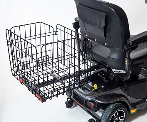 """Folding Rear Basket for Pride Mobility Scooters & Powerchairs (Only Works with Scooters & Power Chairs Equipped with 1"""" x 1"""" Hitch Receiver)"""