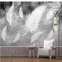 写真の壁紙3D立体空間カスタム大規模な壁紙の壁紙 白い羽の壁の装飾リビングルームの寝室の壁紙の壁の壁画の壁紙テレビのソファの背景家の装飾壁画-400X280cm(157 x 110インチ)