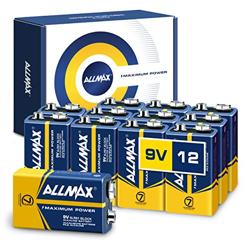 Allmax 9V Maximum Power Alkaline Batteries (12 Count) – Ultra Long-Lasting 9V Battery, 7-Year Shelf Life, Leak-Proof, Device Compatible – Perfect for Smoke Detectors and Fire Alarms