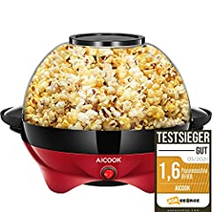 Aicook™ Popcorn Machine for Home, Popcorn Maker Machine with Sugar & Oil, Removable Heating Surface, Nonstick Coating, 5L Popcorn Popper, Large Lid as Serving Bowl, Space Saving Storage