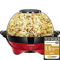 Aicook™ Popcorn Machine for Home, Popcorn Maker Machine with Sugar & Oil, Flyttbar värmeyta, Nonstick Coating, 5L Popcorn Popper, Stort lock som Serveringsskål, Utrymmesbesparande förvaring