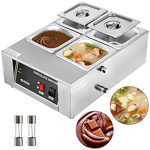 Happybuy Melting Pot Machine 4Tanks Capacity Commercial Heater 1500W Digital Control Two Pan Electric Chocolate Melter, 4-Tanks