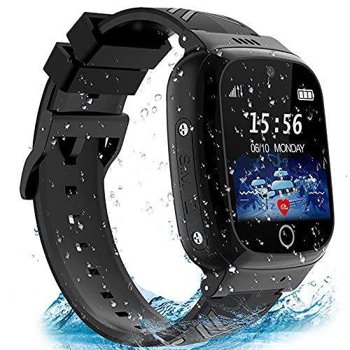 AOYMJRS Smartwatch Kinder Telefon Smart Watch Kinder Handy Uhr mit LBS Tracker Wasserdicht Touchscreen Anruf Voice Chat SOS Kamera Wecker, Geschenk für Kids Junge Mädchen Student (Schwarz)