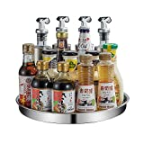 Lazy Susan Turntable Spice Rack Kitchen Cabinet Organizer Stainless Steel Spinning Storage Container Organization Tray for Corner Cabinets, Pantry, Tabletop, Shelf, Countertop (12')